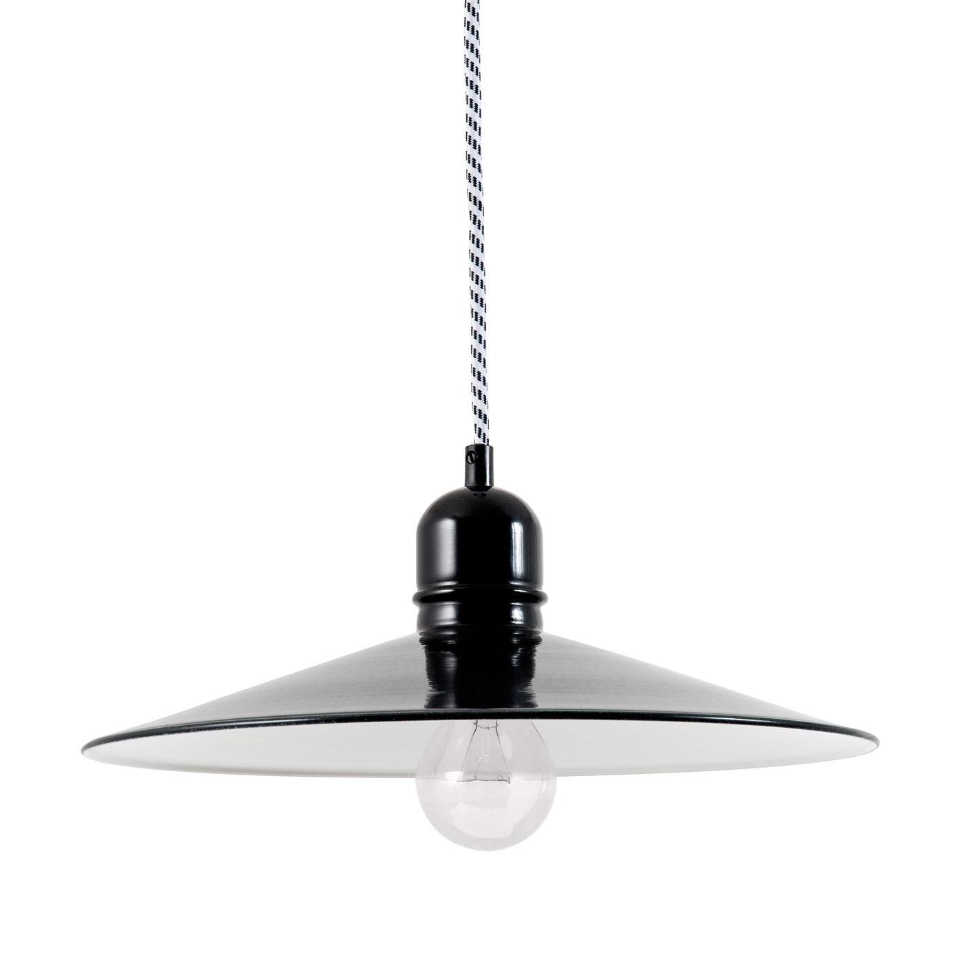 Bolich Bingen Pendelleuchte, 35 cm, Kabel-Aufhängung, Textilkabel schwarz-weiß