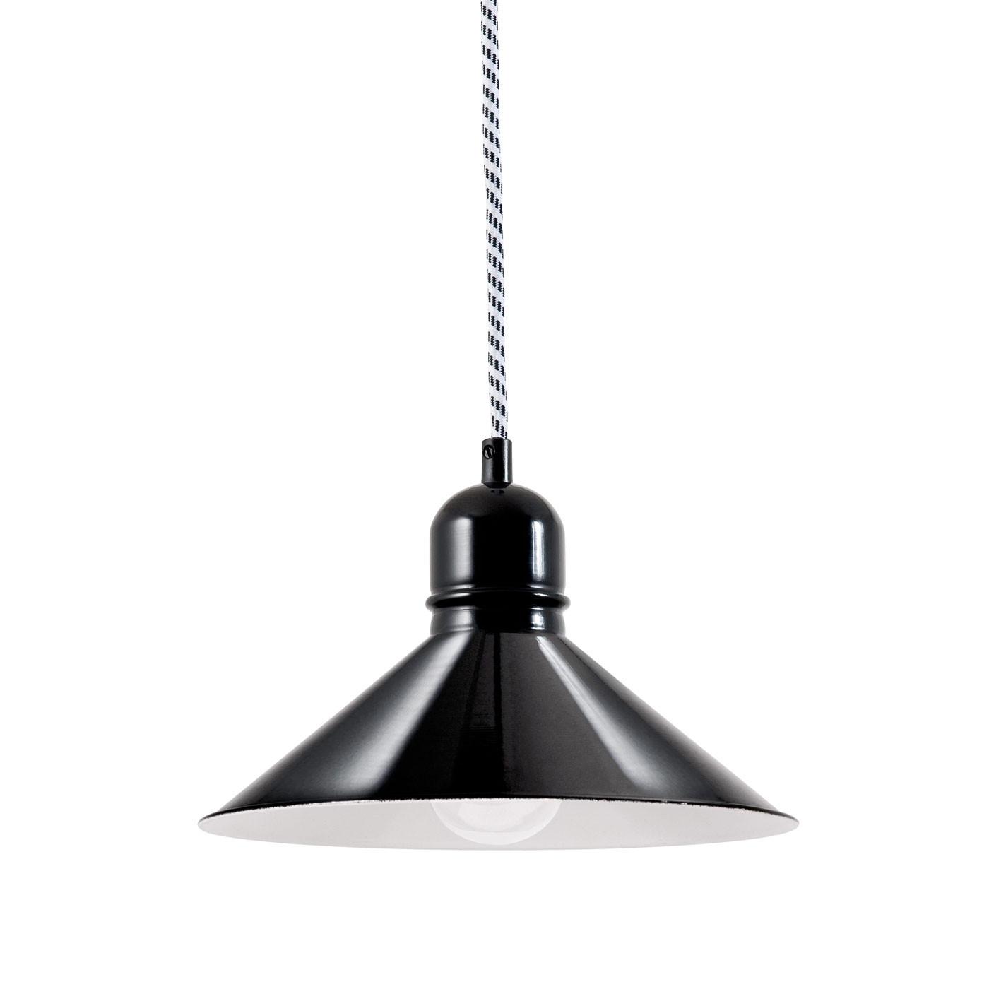 Bolich Bitburg Pendelleuchte, 24 cm, Kabel-Aufhängung, Textilkabel schwarz-weiß