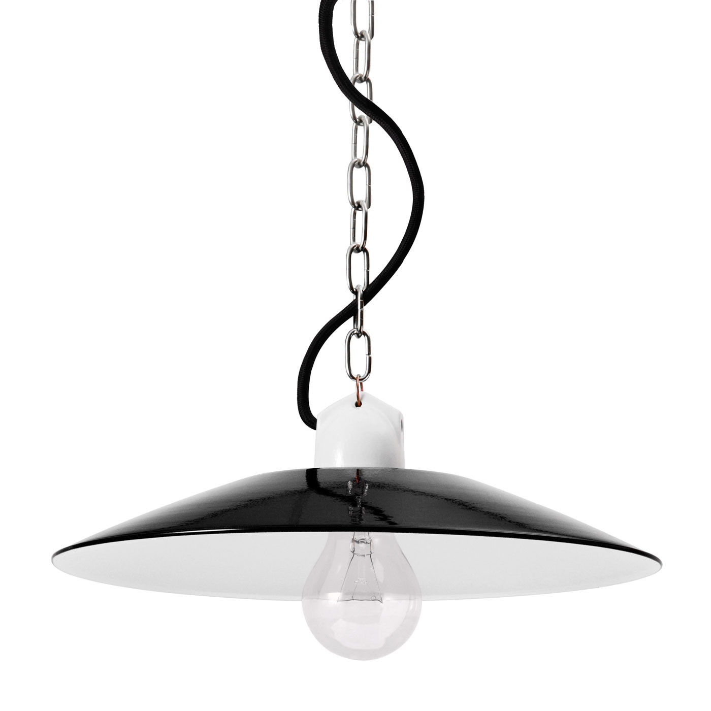 Bolich Bonn Pendelleuchte, 30 cm, Porzellanbügelfassung mit vernickelter Kette, Textilkabel schwarz