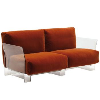 Kartell Pop Zweisitzer-Sofa mit transparentem Gestell