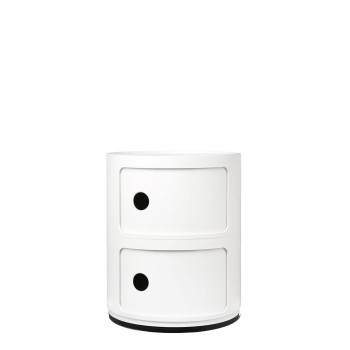 Kartell Componibili modules, two shelves, round, white