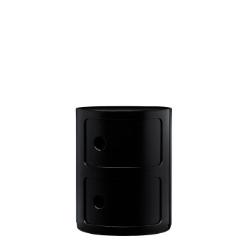 Kartell Componibili modules, two shelves, round, black