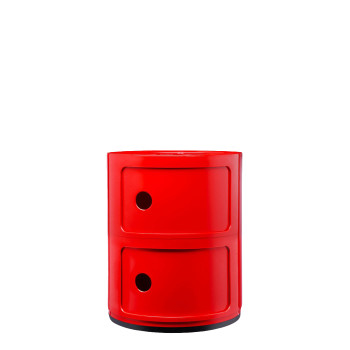 Kartell Componibili modules, two shelves, round, red