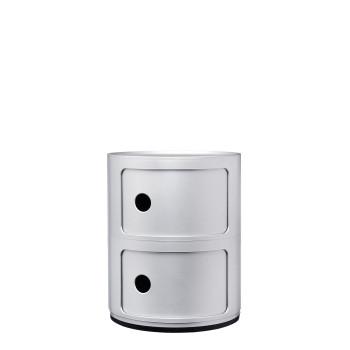 Kartell Componibili Baukastenelemente, zwei Fächer, rund, silber