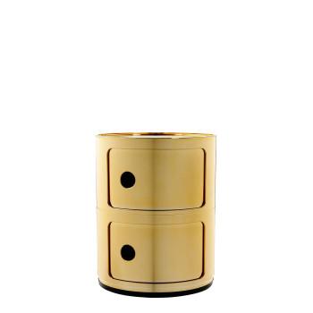 Kartell Componibili Baukastenelemente, zwei Fächer, rund, Gold (metallisiert)