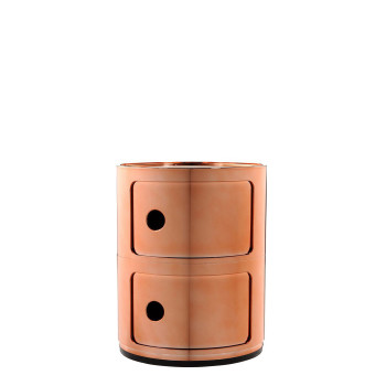 Kartell Componibili modules, two shelves, round, copper (metallized)