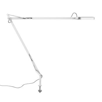 Flos Kelvin LED Desk Support mit sichtbarem Kabel, weiß glänzend