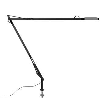 Flos Kelvin LED Desk Support mit sichtbarem Kabel, schwarz glänzend