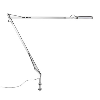 Flos Kelvin LED Desk Support mit sichtbarem Kabel, verchromt
