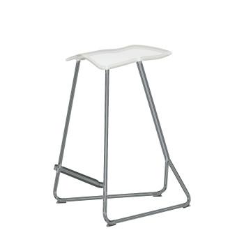 ClassiCon Triton Counter Stool Chrom, weiße Polyurethane-Sitzschale