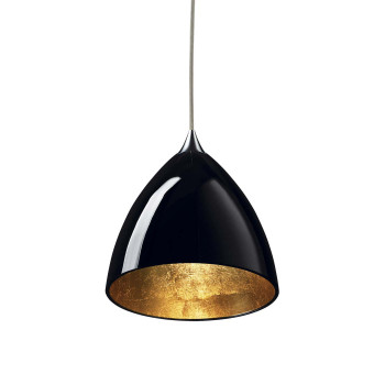 Bruck Silva Down 160 Gold Pendelleuchte, Schirm innen gold, außen schwarz/ Struktur chrom