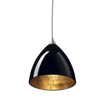 Bruck Silva Down 160 Gold Pendelleuchte, Schirm innen gold, außen schwarz/ Struktur matt chrom