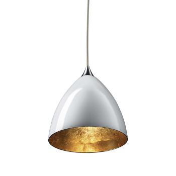 Bruck Silva Down 160 Gold Pendelleuchte, Schirm innen gold, außen weiß/ Struktur chrom