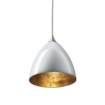 Bruck Silva Down 160 Gold Pendelleuchte, Schirm innen gold, außen weiß/ Struktur matt chrom