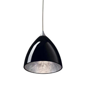 Bruck Silva Down 160 Silver Pendelleuchte, Schirm innen silber, außen schwarz/ Struktur matt chrom