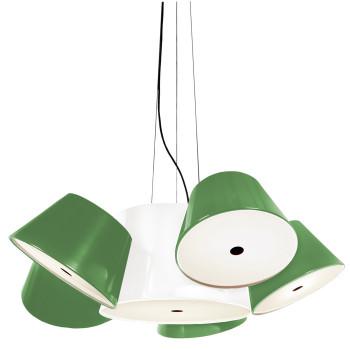 Marset Tam Tam 5, zentraler Schirm weiß, kleine Schirme grün