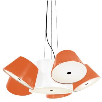 Marset Tam Tam 5, zentraler Schirm weiß, kleine Schirme orange