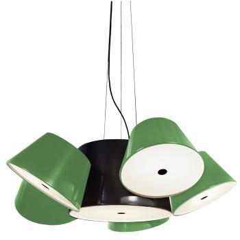 Marset Tam Tam 5, zentraler Schirm schwarz, kleine Schirme grün