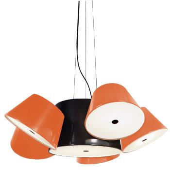 Marset Tam Tam 5, zentraler Schirm schwarz, kleine Schirme orange