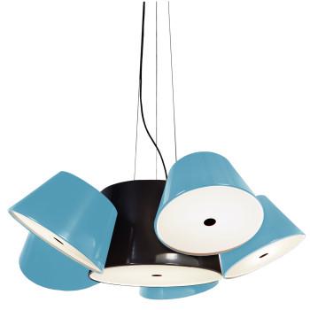 Marset Tam Tam 5, zentraler Schirm schwarz, kleine Schirme blau