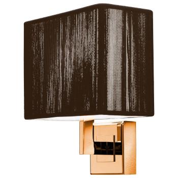 Axo Light Clavius AP BR, Struktur goldfarben, Seidenschirm tabakbraun
