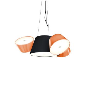 Marset Tam Tam Mini, zentraler Schirm schwarz, kleine Schirme orange