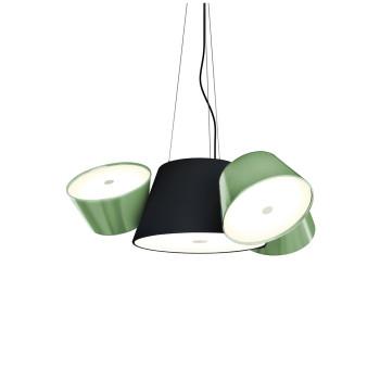 Marset Tam Tam Mini, zentraler Schirm schwarz, kleine Schirme grün