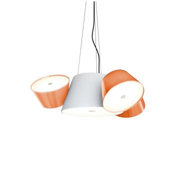 Marset Tam Tam Mini, zentraler Schirm weiß, kleine Schirme orange
