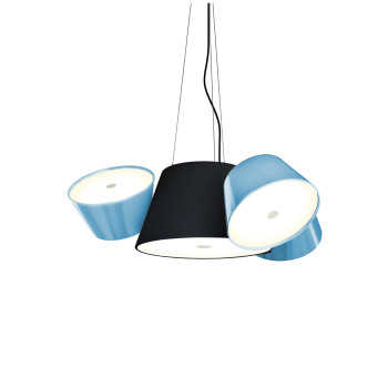 Marset Tam Tam Mini, zentraler Schirm schwarz, kleine Schirme blau