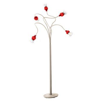 Serien Lighting Poppy Floor 5, Glasschirm rot, Arm beige