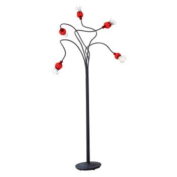 Serien Lighting Poppy Floor 5, Glasschirm rot, Arm schwarz