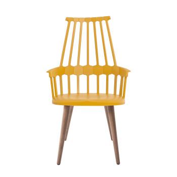 Kartell Comback 5954, Sitz gelb/ Stuhlbeine aus Eschenholz