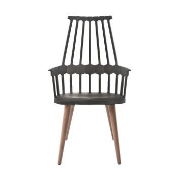 Kartell Comback 5954, Sitz schwarz / Stuhlbeine aus Eschenholz
