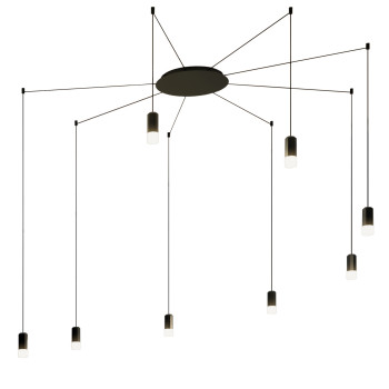 Vibia Wireflow Free-Form mit Glasdiffusor, 8 LEDs (0358)