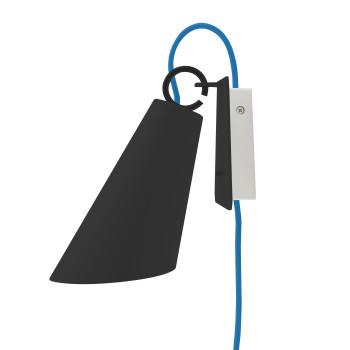 Domus Pit Wandleuchte mit Steckerzuleitung, Metallschirm schwarz, Textilkabel blau