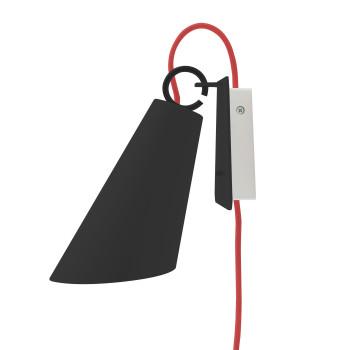 Domus Pit Wandleuchte mit Steckerzuleitung, Metallschirm schwarz, Textilkabel rot