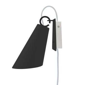 Domus Pit Wandleuchte mit Steckerzuleitung, Metallschirm schwarz, Textilkabel silbergrau