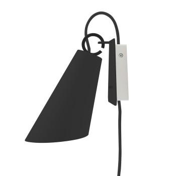 Domus Pit Wandleuchte mit Steckerzuleitung, Metallschirm schwarz, Textilkabel anthrazit