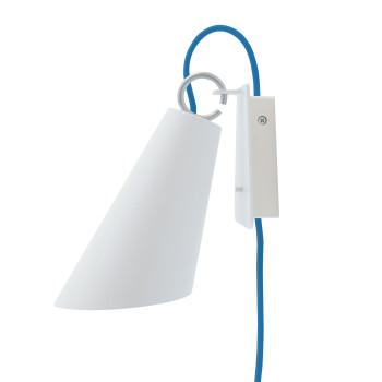 Domus Pit Wandleuchte mit Steckerzuleitung, Metallschirm weiß, Textilkabel blau