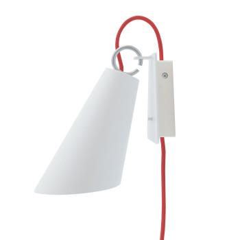 Domus Pit Wandleuchte mit Steckerzuleitung, Metallschirm weiß, Textilkabel rot