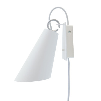 Domus Pit Wandleuchte mit Steckerzuleitung, Metallschirm weiß, Textilkabel silbergrau