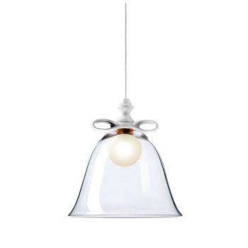 Moooi Bell Lamp, weiße Schleife, transparenter Schirm