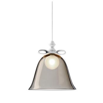 Moooi Bell Lamp, weiße Schleife, rauchgrauer Schirm