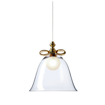 Moooi Bell Lamp, goldfarbene Schleife, transparenter Schirm