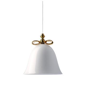 Moooi Bell Lamp, goldfarbene Schleife, weißer Schirm