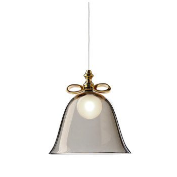 Moooi Bell Lamp, goldfarbene Schleife, rauchgrauer Schirm