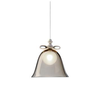 Moooi Bell Lamp Small, weiße Schleife, rauchgrauer Schirm