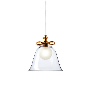 Moooi Bell Lamp Small, goldfarbene Schleife, transparenter Schirm