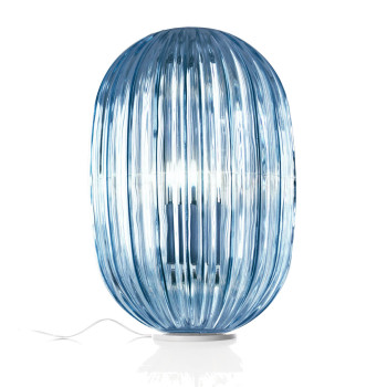 Foscarini Plass Media Tavolo, blau mit Dimmer