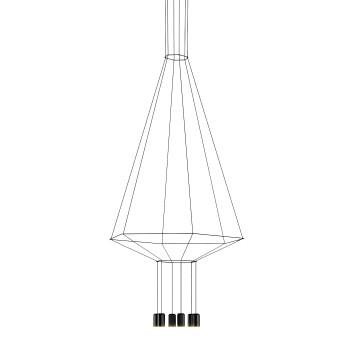 Vibia Wireflow 6 LEDs, Breite 90 cm, ohne Glasdiffusor (0405)